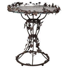 19th Century Italian Wrought Iron Table with Marble Top
