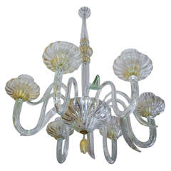 Charming Six-Light Murano Glass with Gold Inside Chandelier by Seguso, 1940