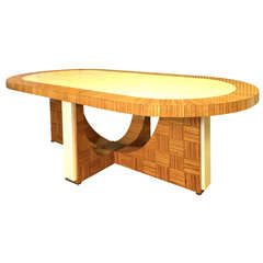 1930 Oval Zebrano Wood and Parchment Leather Italian Art Deco Table