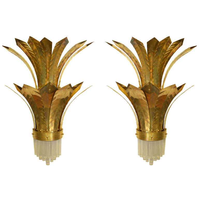 Murano Glass Wall Lamps : Wall Lamps in Brass and Murano Glass at 1stdibs