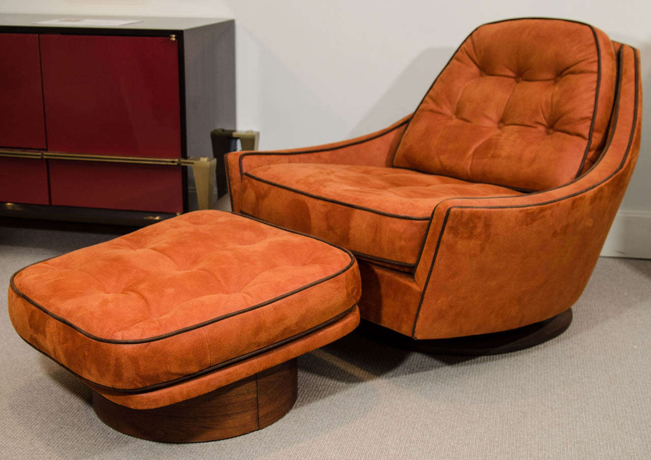 Vintage Swivel Club Chair And Ottoman For Sale At 1stdibs