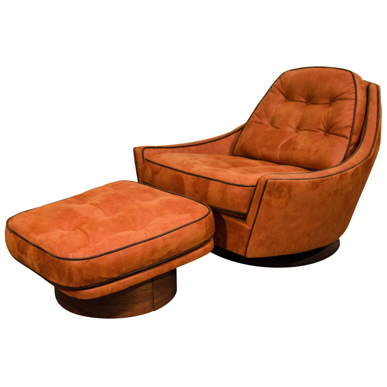 Vintage swivel club chair and ottoman at 1stdibs for Swivel club chair leather