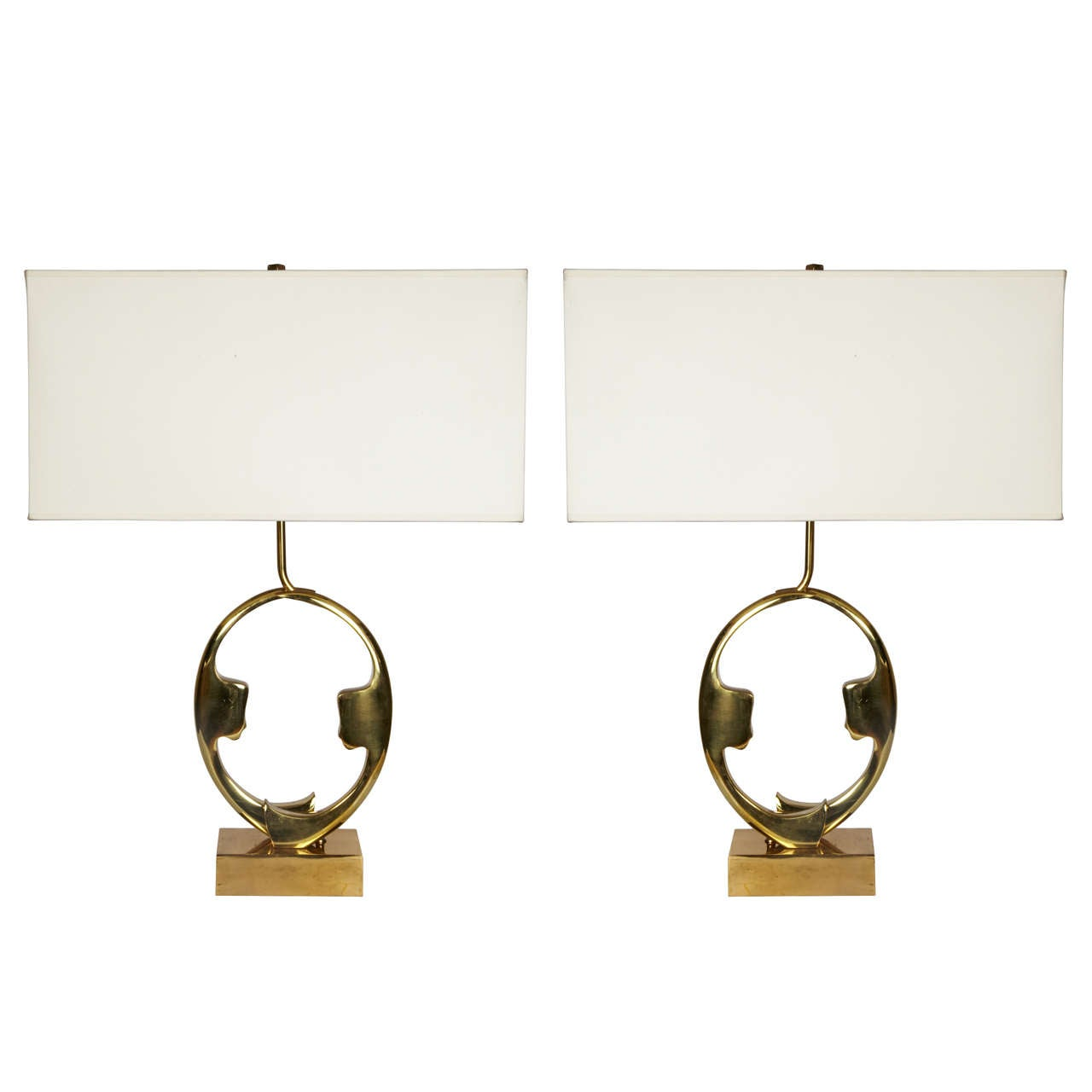Pair of Sculptural Bronze Lamps by Willy Daro