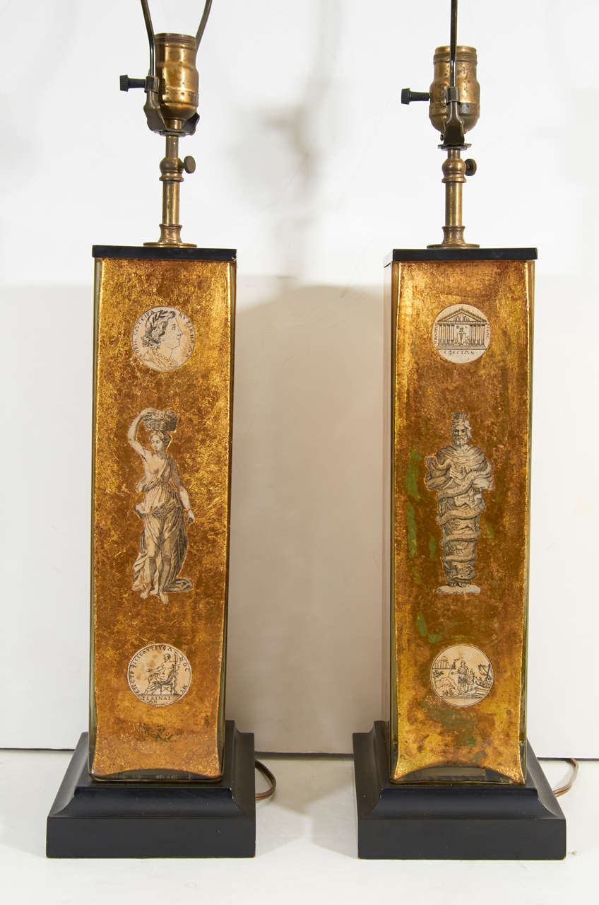 Pair of Eglomise Neoclassical Motif Lamps attributed to Fornasetti For Sale 2