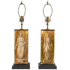 Pair of Eglomise Neoclassical Motif Lamps attributed to Fornasetti
