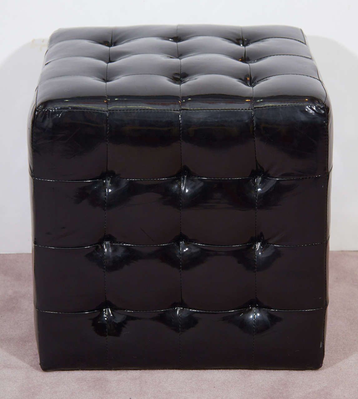 black look faux leather tufted cube ottomans or benches at 1stdibs