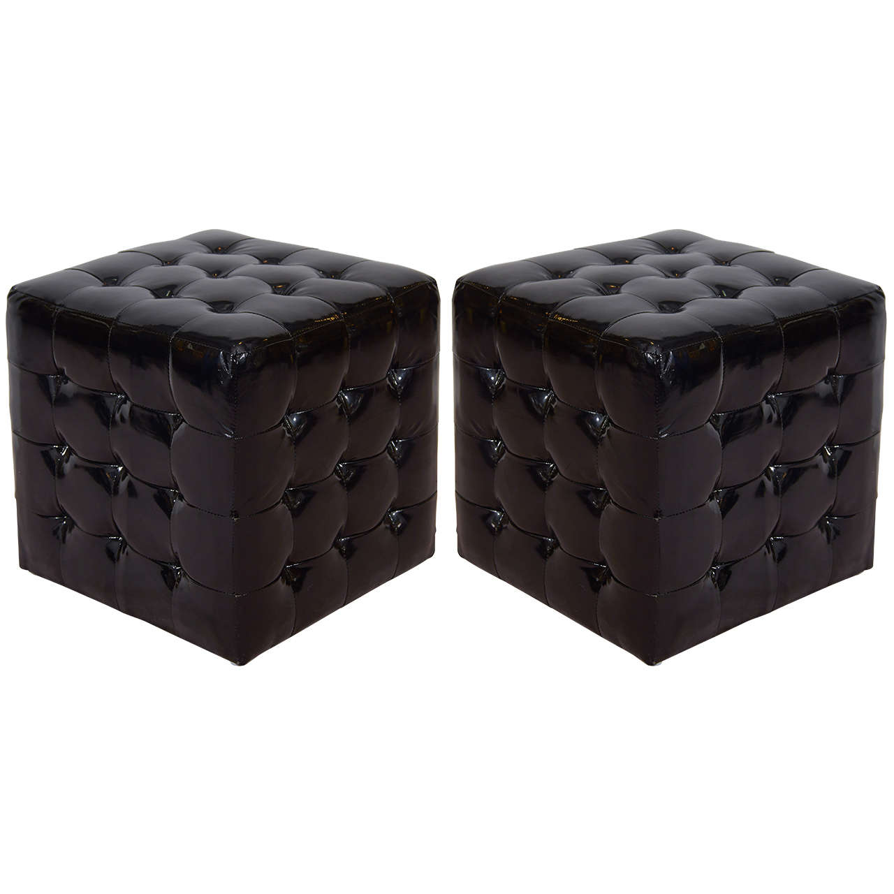 black wetlook faux leather tufted cube ottomans or benches 1