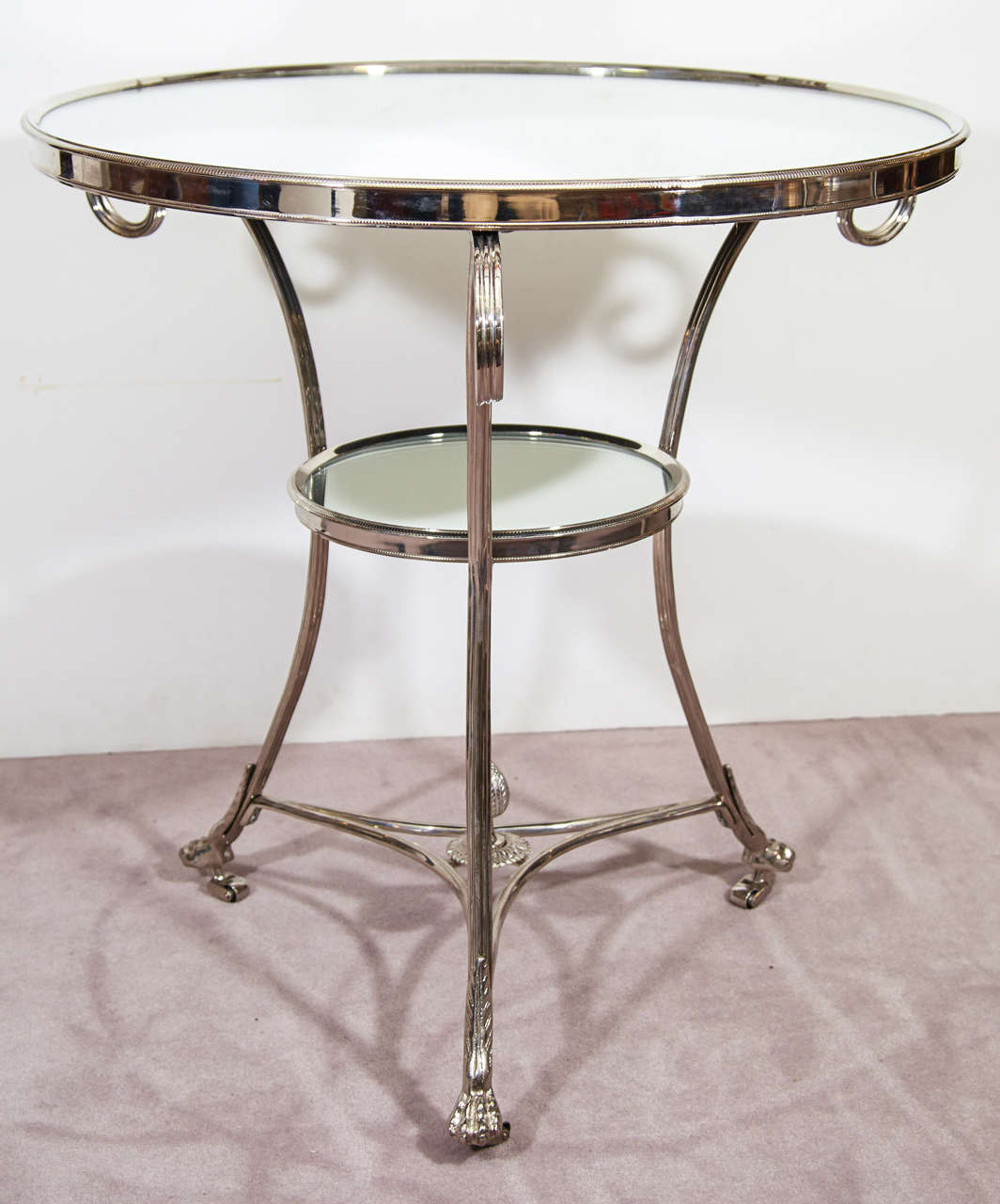 Mid-Century Pair of Glass and Chrome French Lamp Tables 2