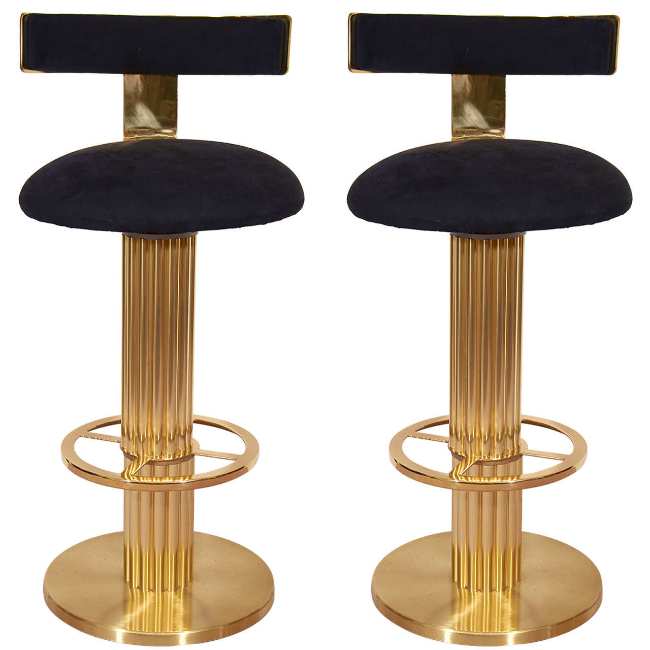 Pair Of Mid Century Solid Brass Bar Stools At 1stdibs