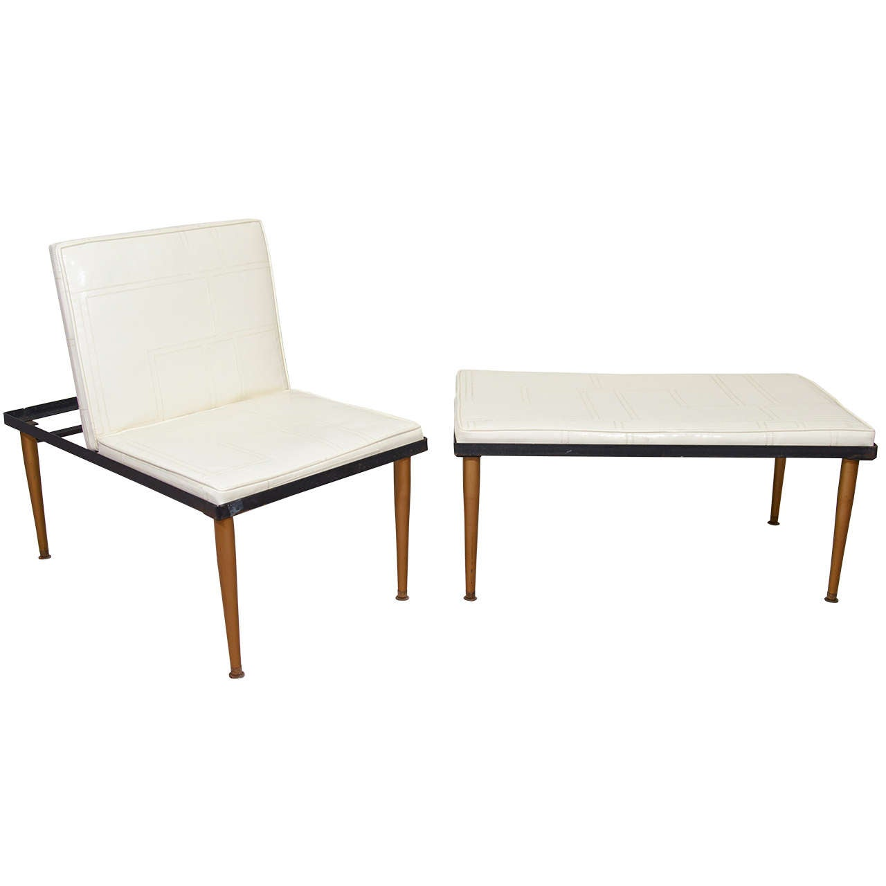 A Mid Century Matching Vinyl Adjustable Chair And Bench At