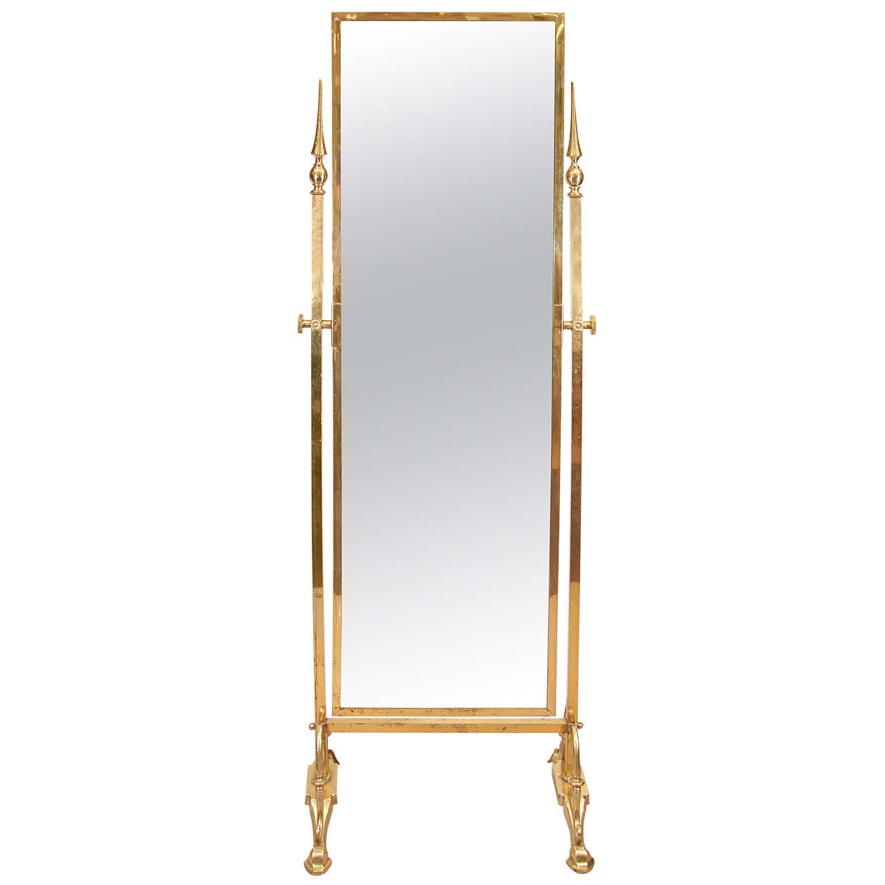 A modernist cheval mirror with brass frame and feet at 1stdibs for Full length mirror with mirror frame
