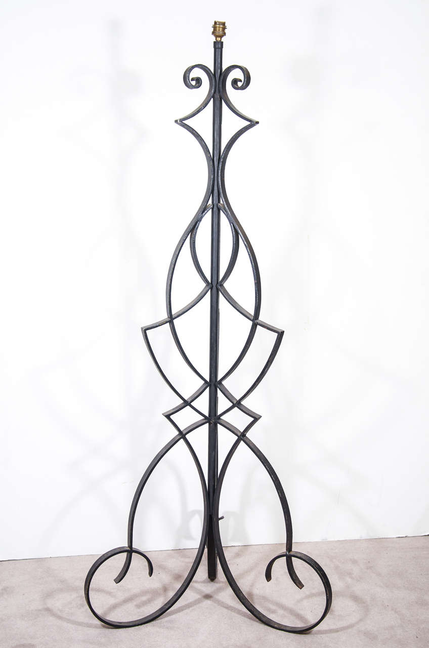 A Mid Century Wrought Iron Floor Lamp Attributed To Robert Merceris Wiring Vintage Large Ornate Painted Black And