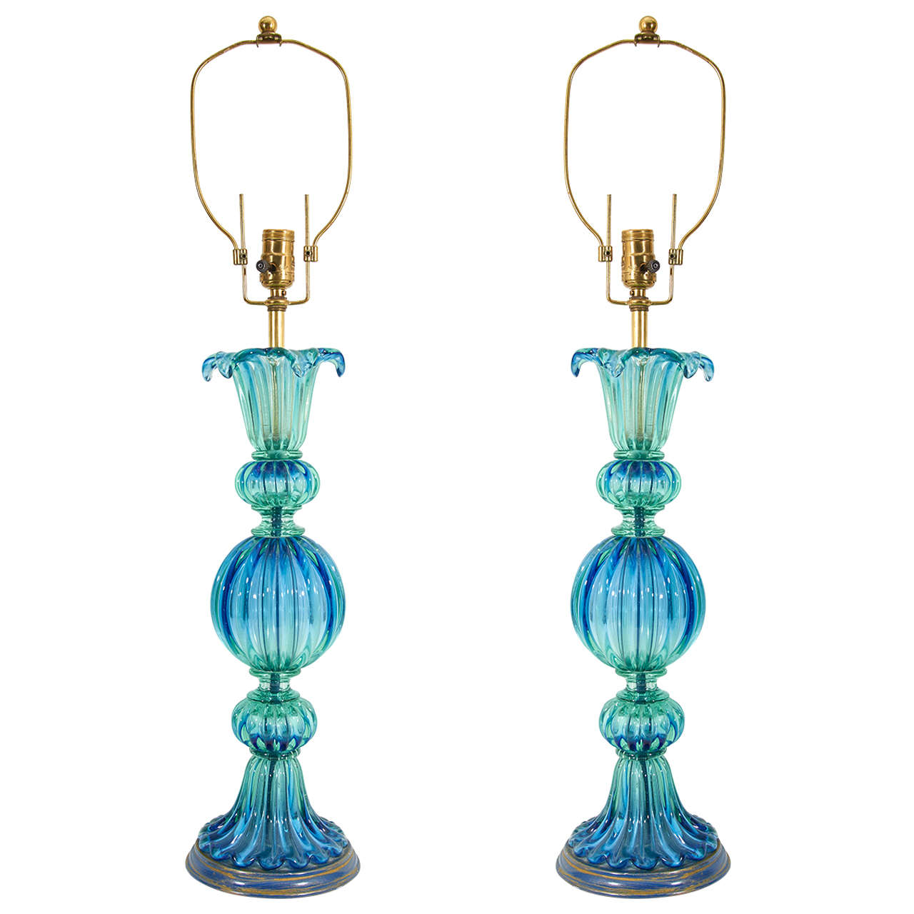 midcentury pair of blue and green murano glass lamps by seguso at 1stdibs. Black Bedroom Furniture Sets. Home Design Ideas