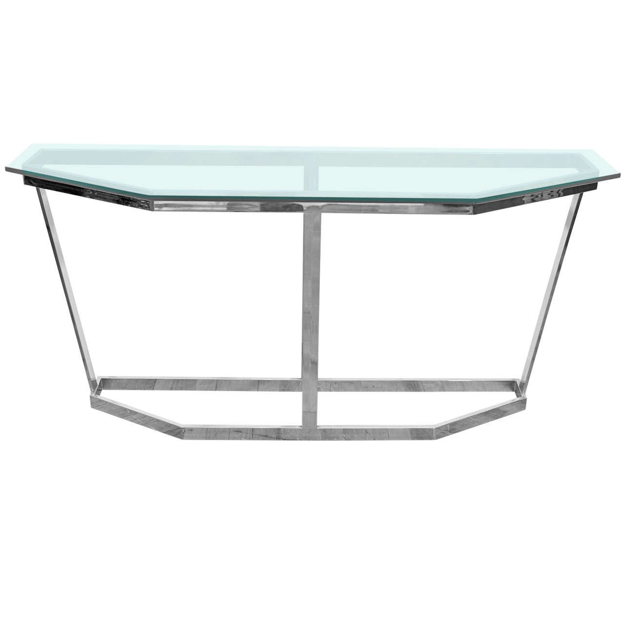 a mid century angular chrome and glass console table