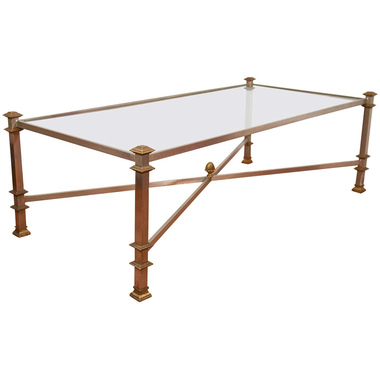Mid Century Glass Steel And Brass Coffee Table At 1stdibs
