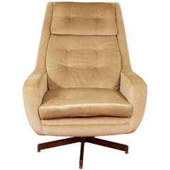 Mid Century Swedish Lounge Chair in Mohair