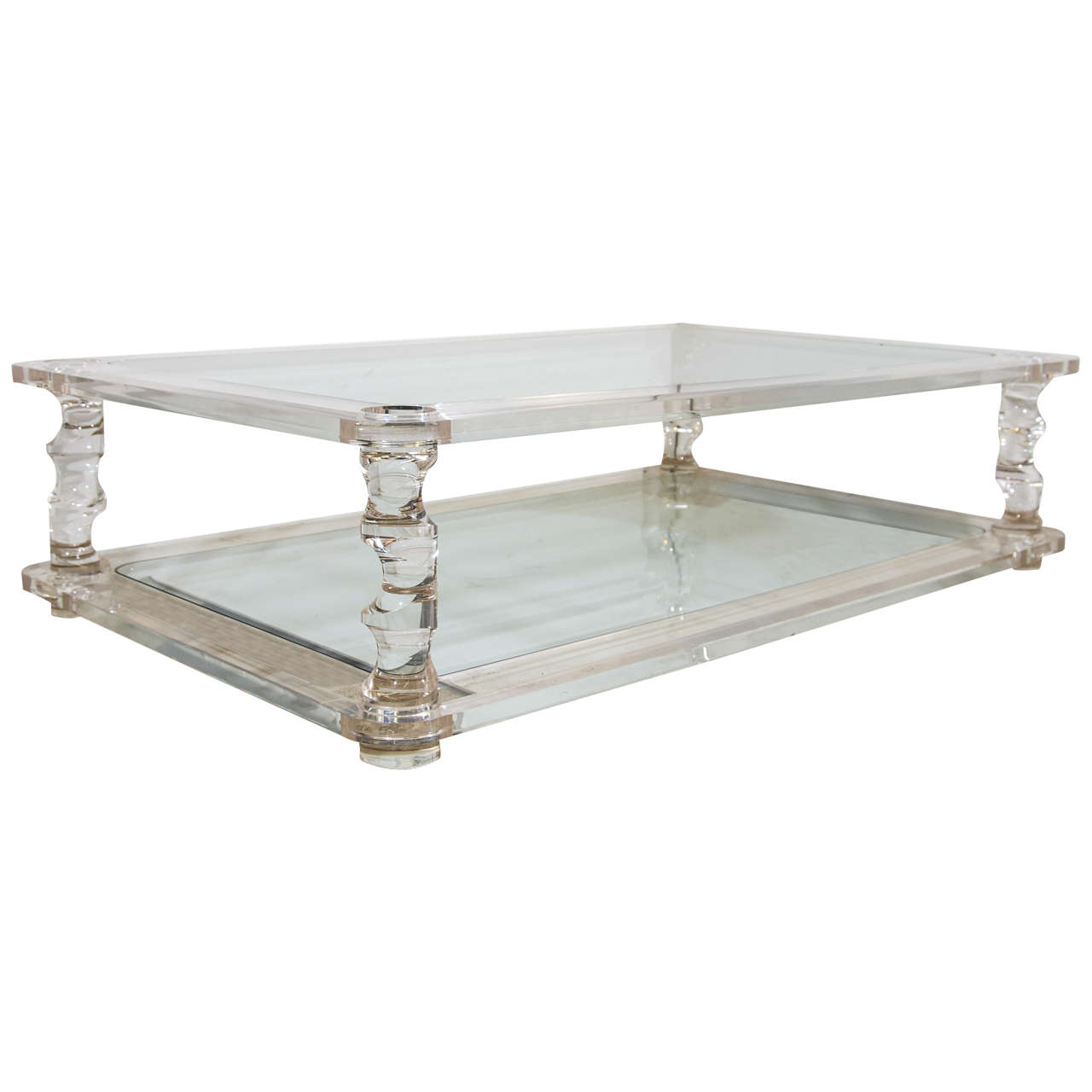 Mid century karl springer style heavy sculptural lucite for Lucite and brass coffee table