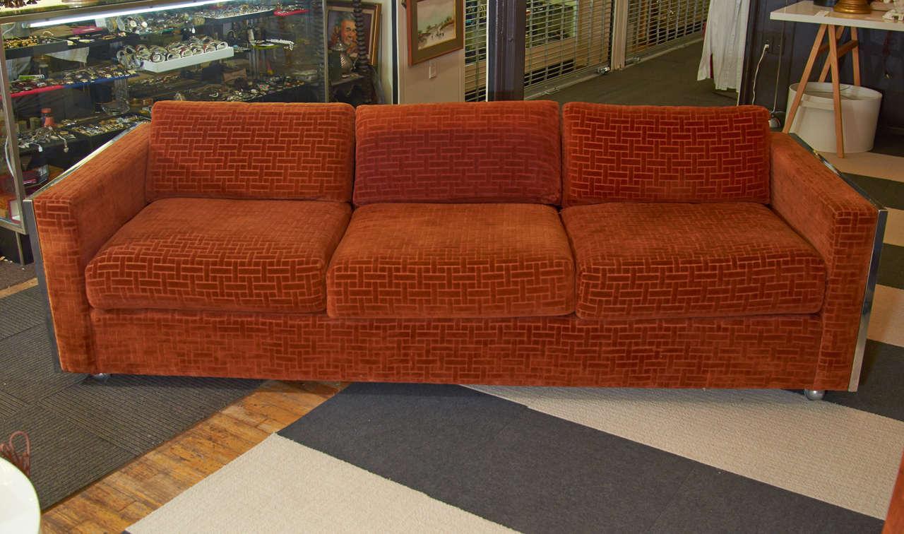 Mid Century Velvet Sofa With Chrome Greek Key Detail