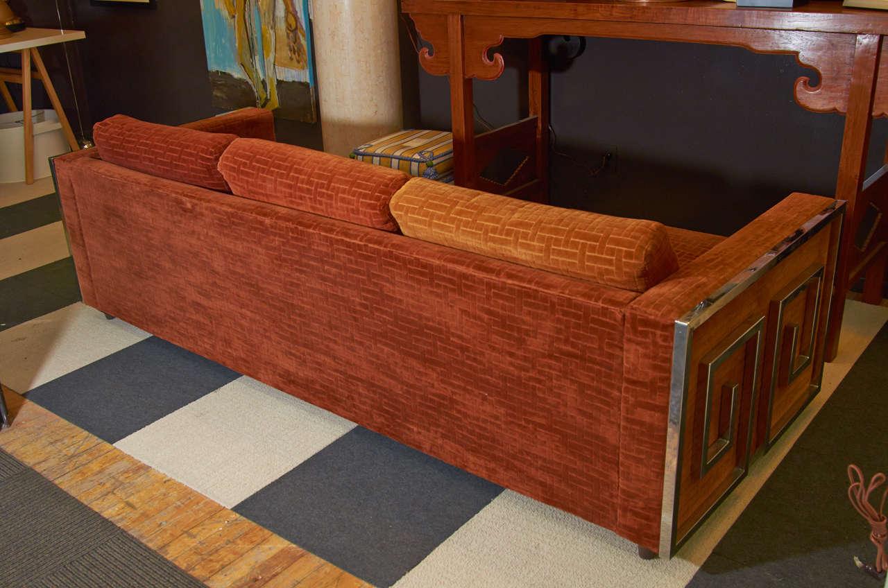 Mid Century Velvet Sofa With Chrome Greek Key Detail At
