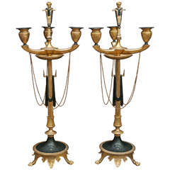 Pair of 19th Century French Neo-Greco Gilded and Tole Iron Candelabra