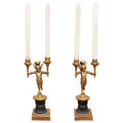 Pair of French Empire Gilt and Patinated Bronze Candlesticks