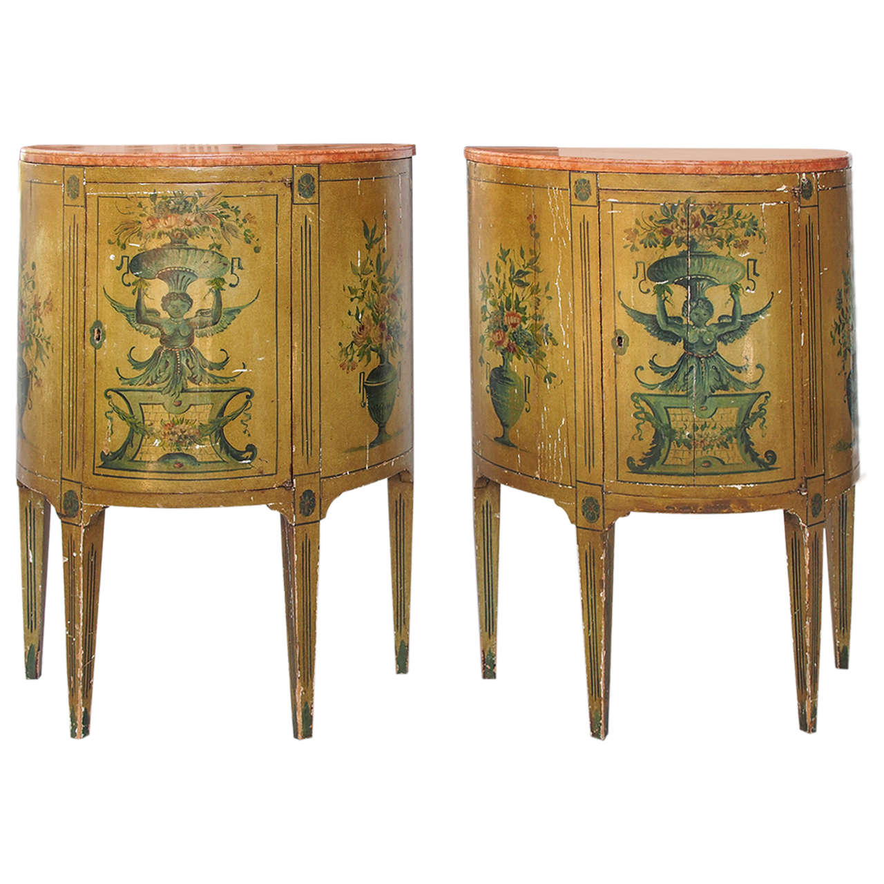 Etonnant Pair Of Italian Painted Demilune Cabinets With Marble Tops