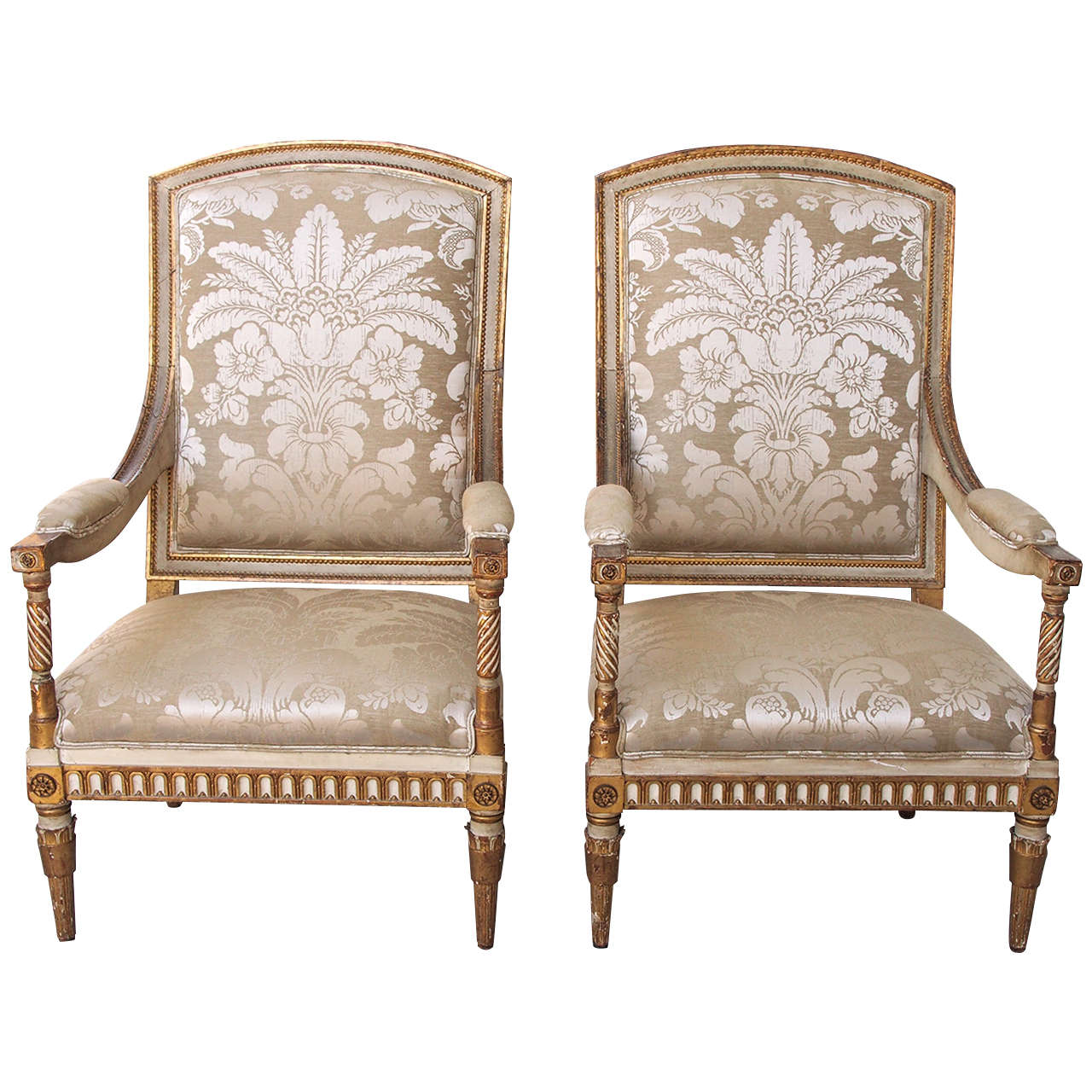 Italian Louis XVI Style Painted and Parcel-Gilt Armchairs