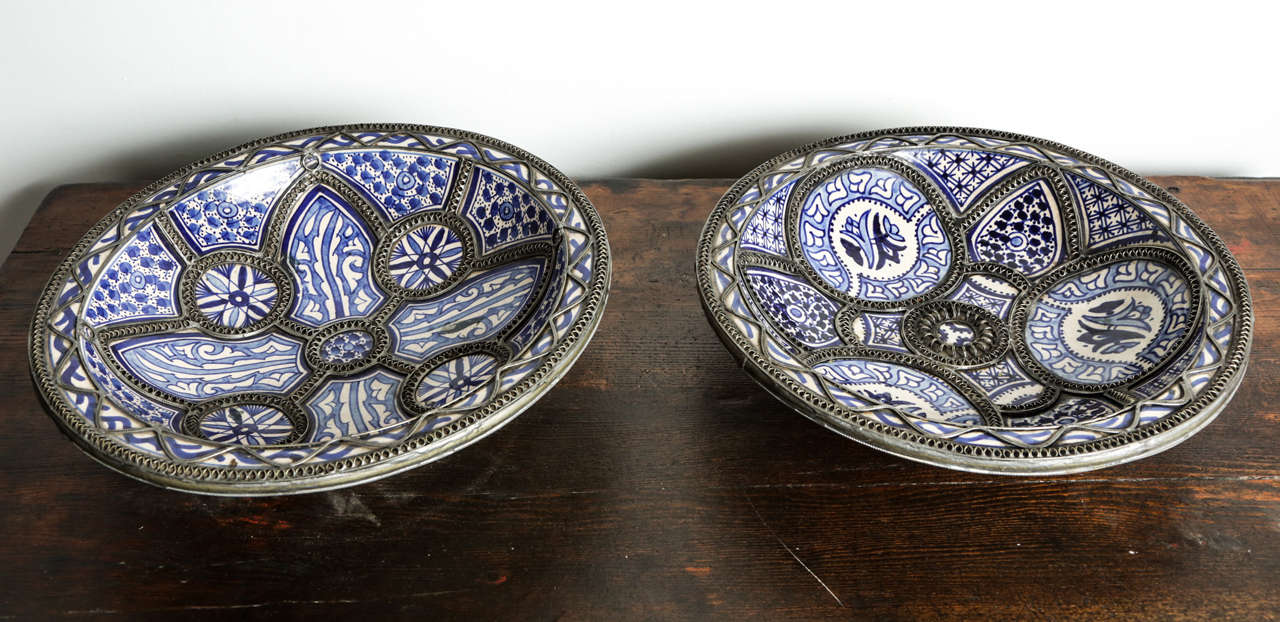 Pair Of Large Moroccan Ceramic Plates For Fez At 1stdibs