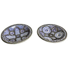 Pair of Large Moroccan Ceramic Plates for Fez