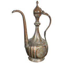 Antique 19th Century Middle Eastern Persian Tinned Copper Ewer