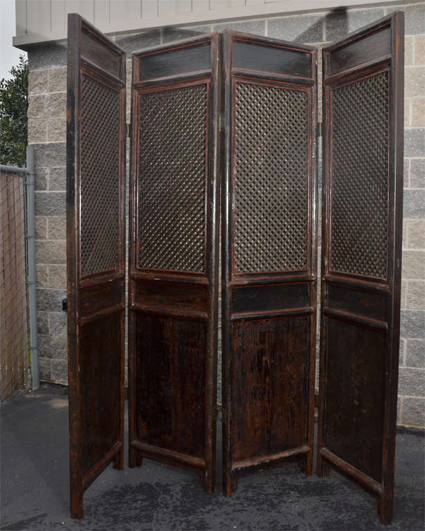 Mid 19thC. Q'ing Dynasty Shanxi 4 Panel Screen In Original Red and Black Lacquer 2