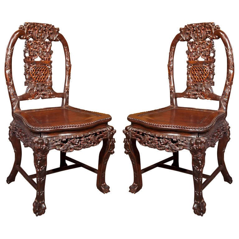 Incroyable Pair Hand Carved Chinese Chairs For Sale