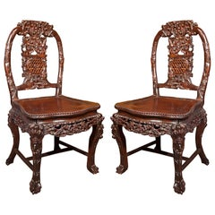 Pair Hand Carved Chinese  Chairs