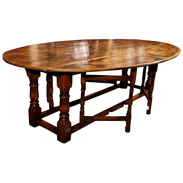 Large drop leaf gate leg dining table at 1stdibs for One leg dining table