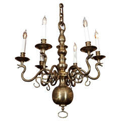 English Brass 6-Arm Chandelier
