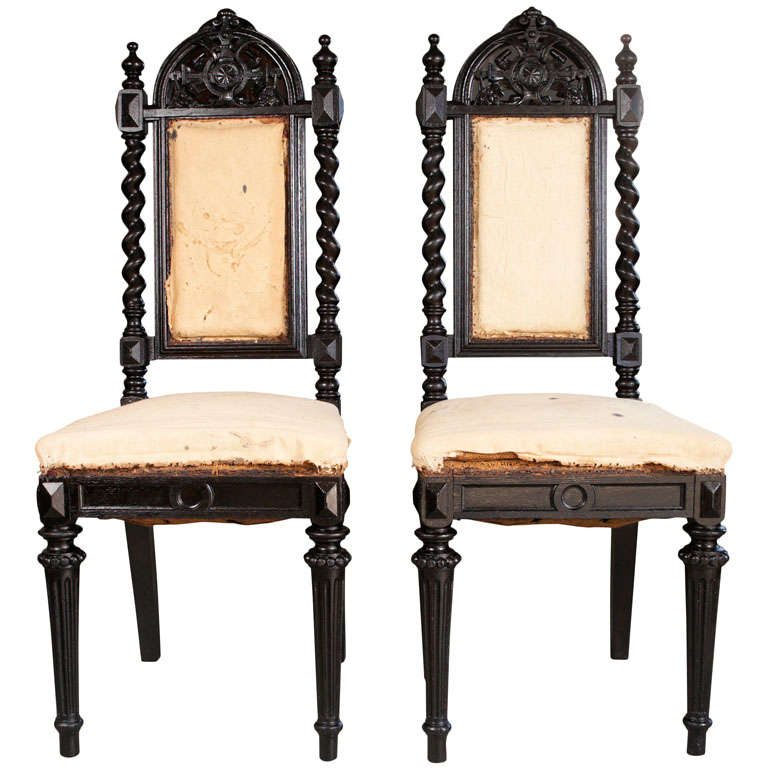 Pair Of Gothic Style Chairs At 1stdibs