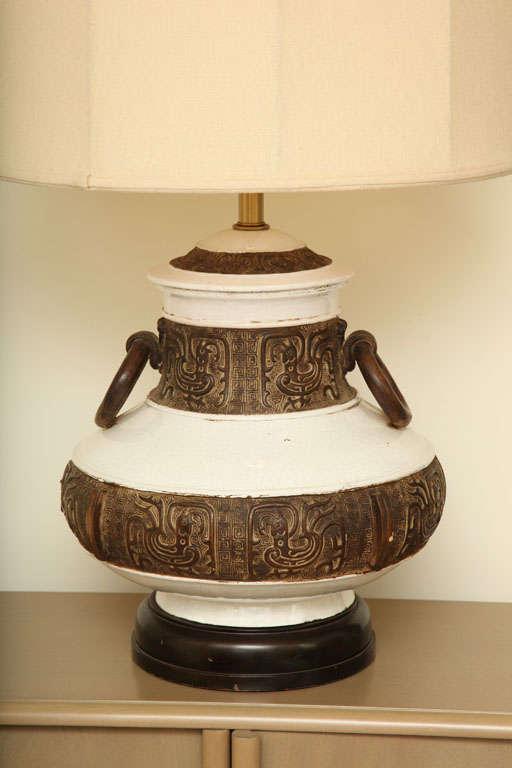 Large crackle glazed lamp with aztec decoration c 1950 at for Aztec decoration