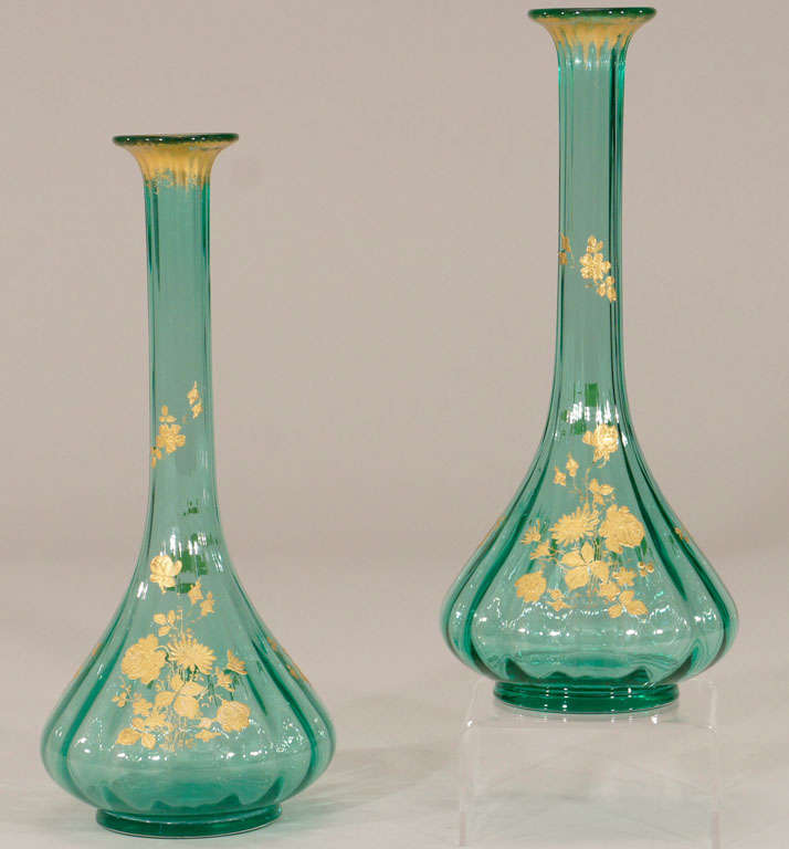 Pair of French Hand Blown Teal Crystal Vases W/ Gold 2