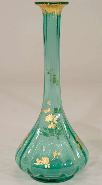 Pair of French Hand Blown Teal Crystal Vases W/ Gold 4
