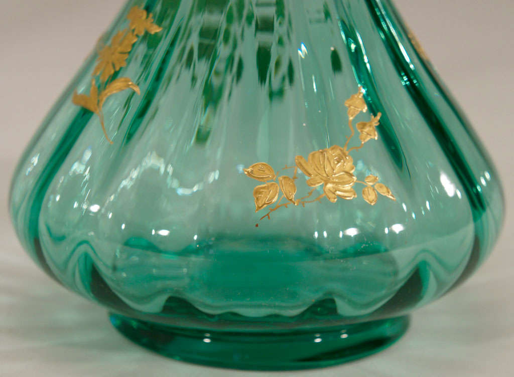 Pair of French Hand Blown Teal Crystal Vases W/ Gold 6