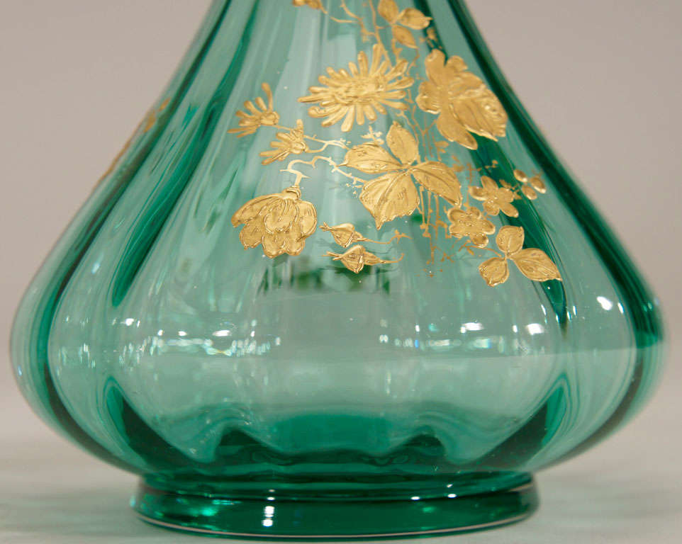 Pair of French Hand Blown Teal Crystal Vases W/ Gold 9