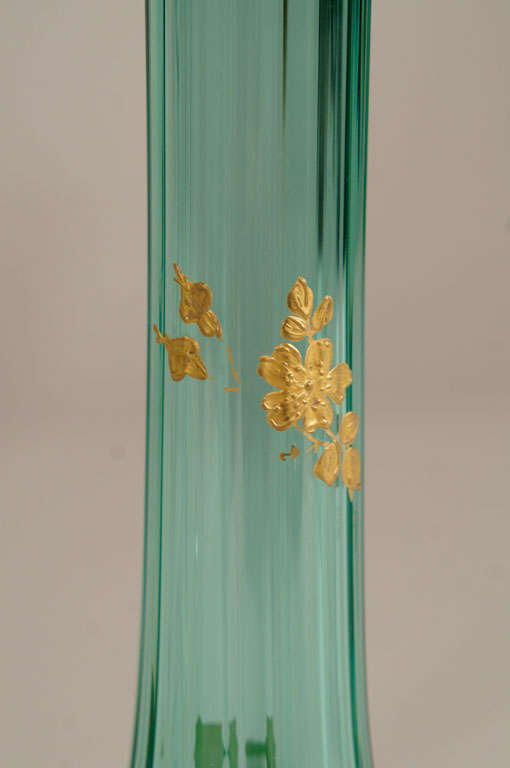 Pair of French Hand Blown Teal Crystal Vases W/ Gold 10