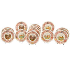 Set of 14 Copeland Spode Hunt Scene Dinner Plates