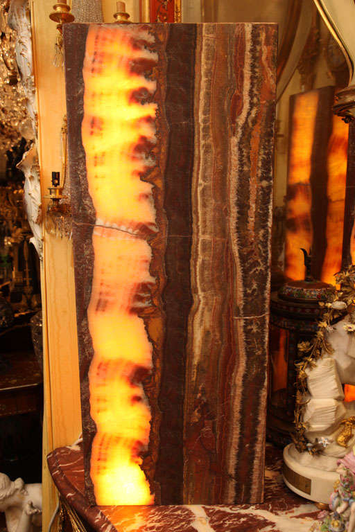 Pair Of Large And Decorativ Onyx Floor Pedestal Lamps At