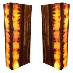 Pair of large and decorativ onyx floor pedestal/ lamps