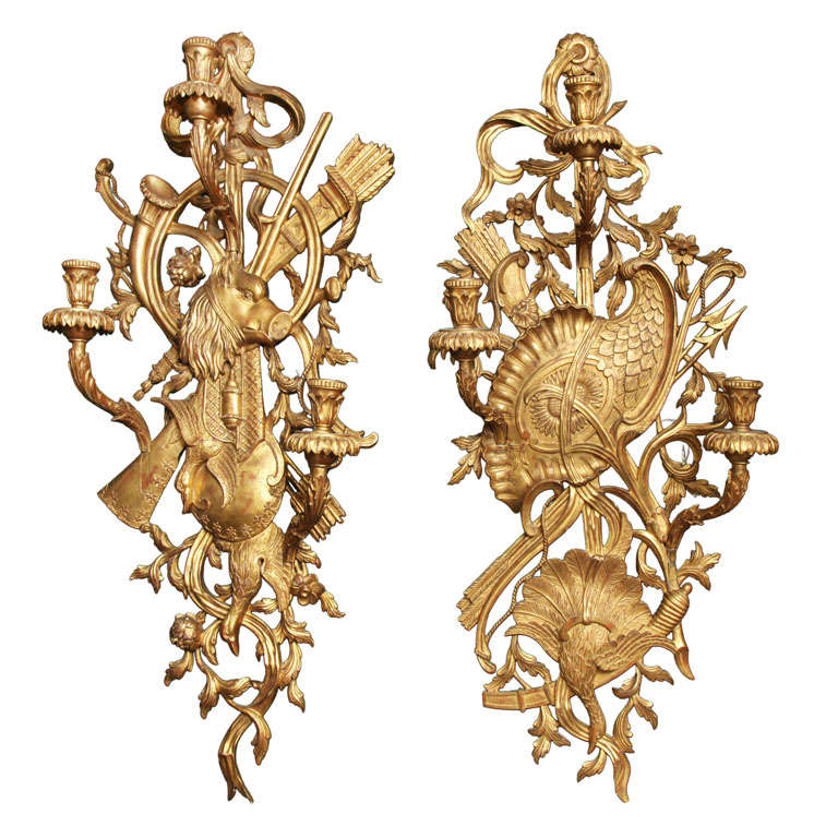 Pair of very large Gilt wood sconces with Hunting motif at 1stdibs