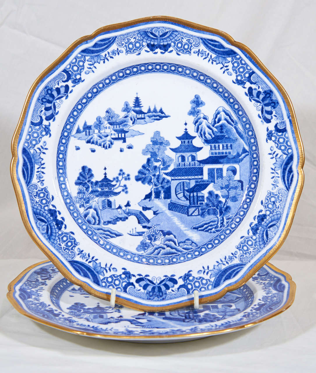 Regency Blue And White Dinner Dishes In A Spode Pattern Similar To Willow For