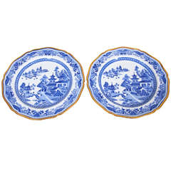 Blue and White Dinner Dishes in A Spode Pattern Similar to Blue Willow