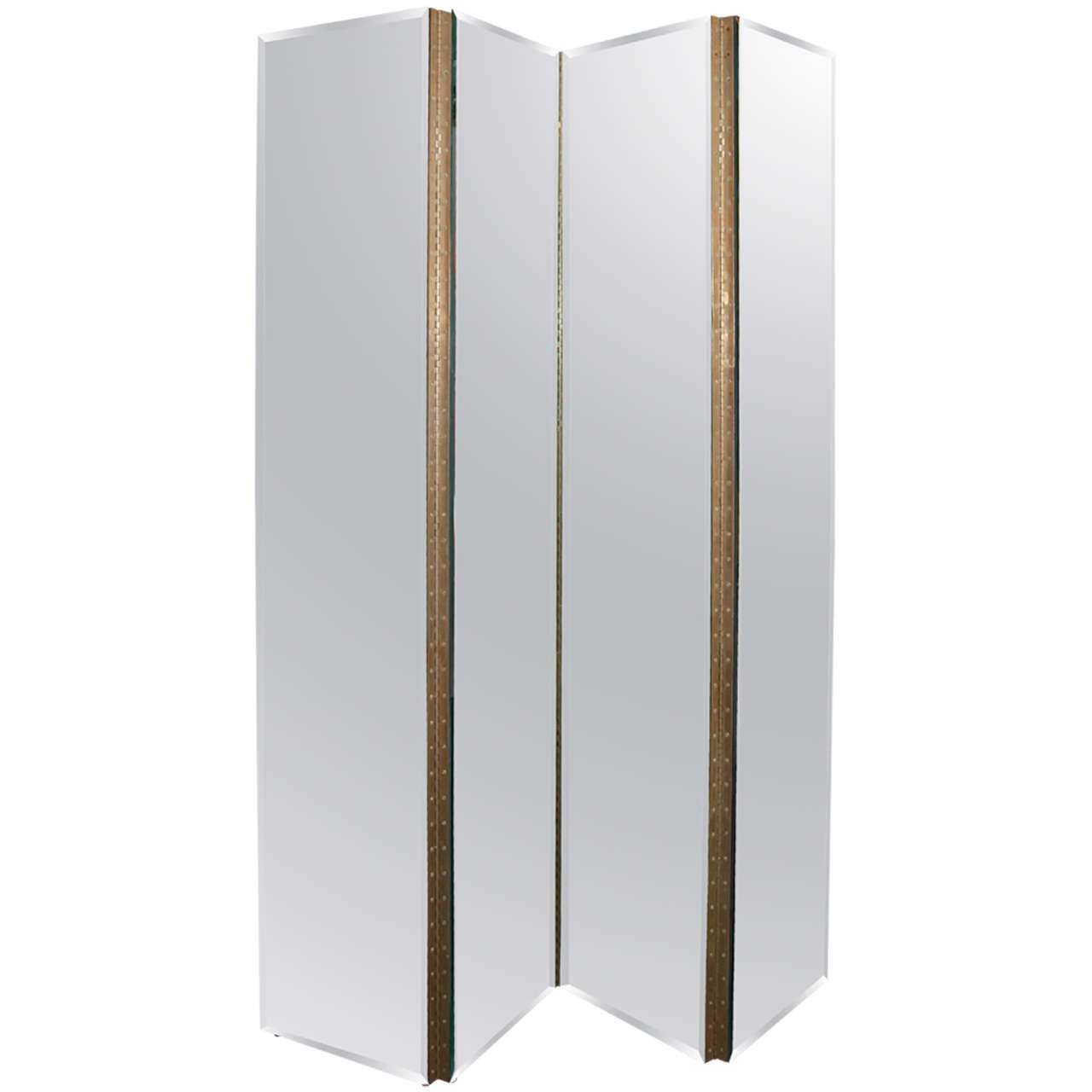 Four panel mirrored screen or room divider at 1stdibs for Four panel room divider screen