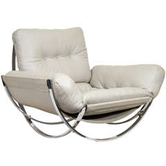 Sculptural Chrome and Leather Italian Lounge Chair